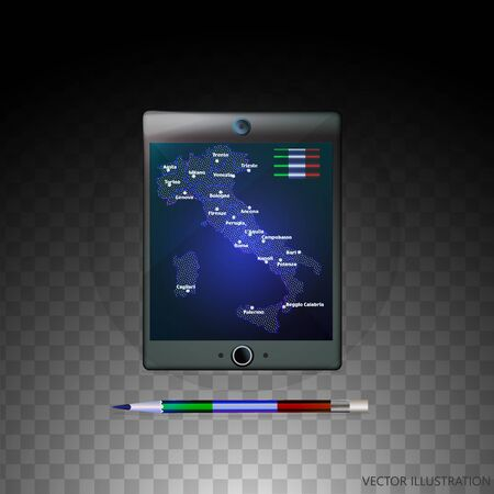 Background with Italy map and flag on the tablet, computer, telefon. Vector illustration with transparent background.