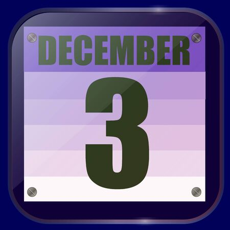 December 3 icon. Calendar date for planning important day. Third of december. Vector.