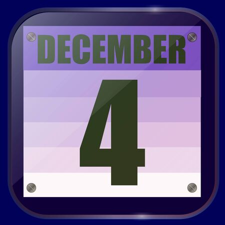 December 4 icon. Calendar date for planning important day. Fourth of december.