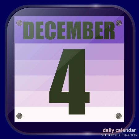 December 4 icon. Calendar date for planning important day. Fourth of december. Vector.