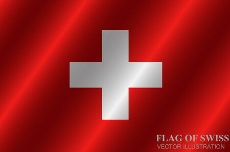 Bright background with flag of Swiss. Swiss National Day banner. Bright illustration with flag. Vector.
