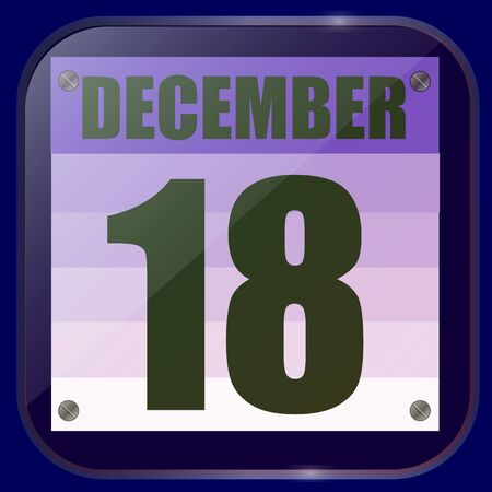 December 18 icon. For planning important day. Banner for holidays and special days. Eighteenth of December icon.