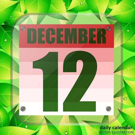 December 12 icon. Calendar date for planning important day with green leaves. December 12th. Banner for holidays and special days. Illustration. Zdjęcie Seryjne