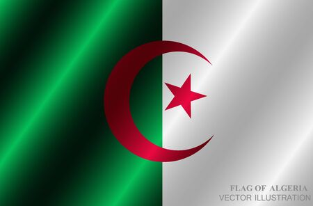 Bright background with flag of Algeria. Happy Algeria day button. Bright vector illustration. Vectores