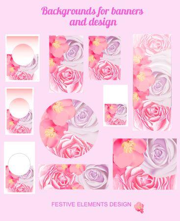 Backgrounds for banners, labels and design. Backdrops with spring flowers. Illustration. Zdjęcie Seryjne