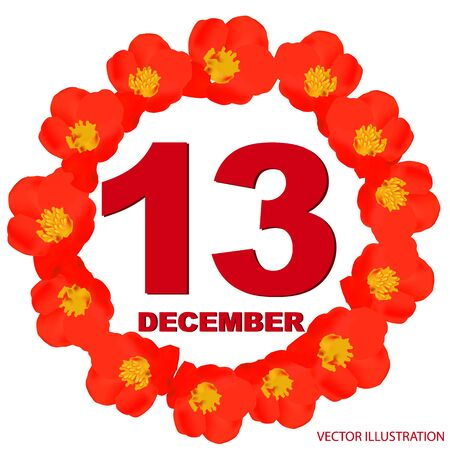 December 13 icon. For planning important day. Banner for holidays with flowers.