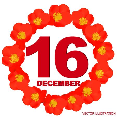 December 16 icon. For planning important day. Banner for holidays with flowers. Sixteenth of December.  イラスト・ベクター素材