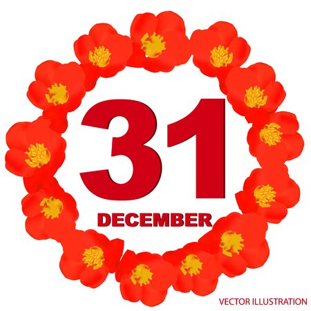 December 31 icon. For planning important day. Banner for holidays with flowers. Thirty first of December.