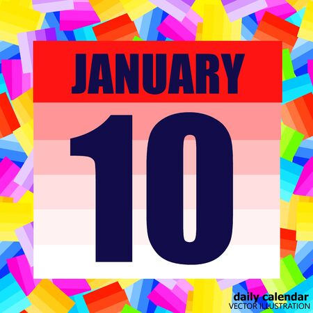 January 10 icon. For planning important day. Banner for holidays and special days. Tenth of january. Vector Illustration.  イラスト・ベクター素材