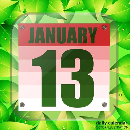 January 13 icon. Calendar date for planning important day with green leaves. January 13th. Illustration.