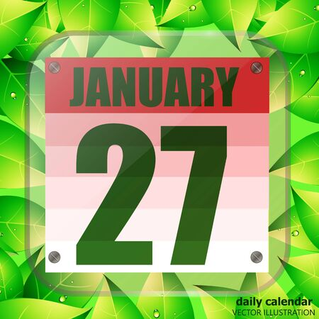 January 27 icon. For planning important day with green leaves. January twenty-seventh icon. Illustration.