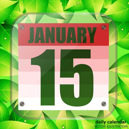 January 15 icon. Calendar date for planning important day with green leaves. Fifteenth of January. Illustration.