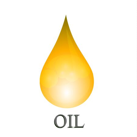 Oil drop isolated on white background. Icon of drop of oil or honey.