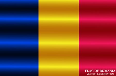 Bright button with flag of Romania. Happy Romania day button. Bright illustration with flag.