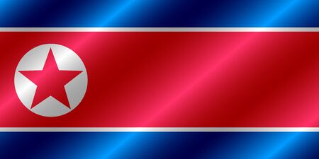 Happy North Korea day button. Bright button with flag of North Korea. Illustration with flag.