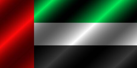 Banner with flag of United Arab Emirates with folds. Illustration with flag for web design.