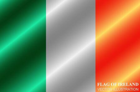 Bright button with flag of Ireland. Happy St. Patricks Day background. Illustration with irish flag. Çizim