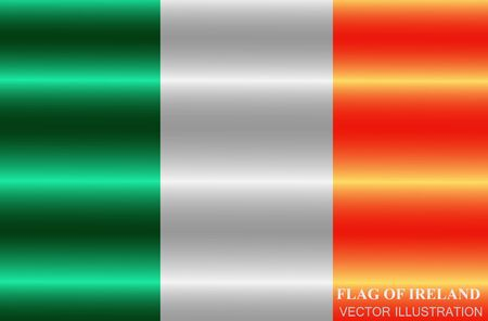 Flag of Ireland with folds. Happy St. Patricks Day background. Illustration with irish flag.