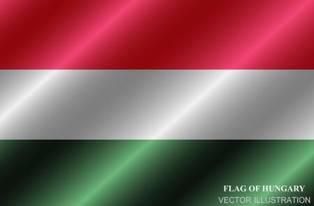 Flag of Hungary with folds. Happy Hungary day button. Bright button with flag.