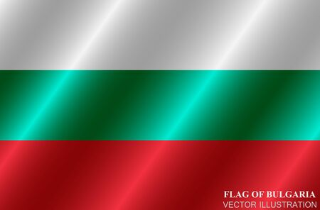 Flag of Bulgaria with folds. Happy Bulgaria day background. Bright button with flag.