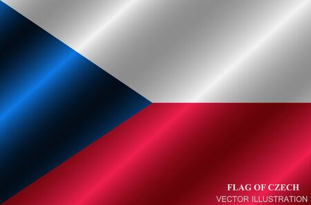 Flag of Czech Republic with folds. Happy Czech day background. Bright button with flag.