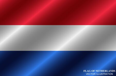 Flag of Netherlands with folds. Happy Netherlands day background. Illustration with flag. Vector.