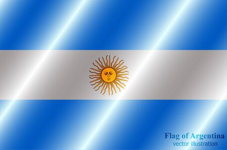 Flag of Argentina with folds. Colorful illustration with flag for design.