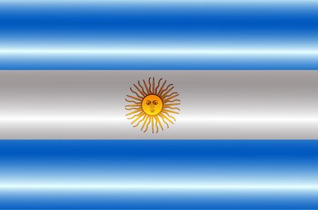 Flag of Argentina with folds. Colorful illustration with flag.