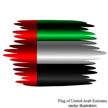 Banner with flag of United Arab Emirates with folds. Illustration with flag. Bright illustration with brush effect. 일러스트