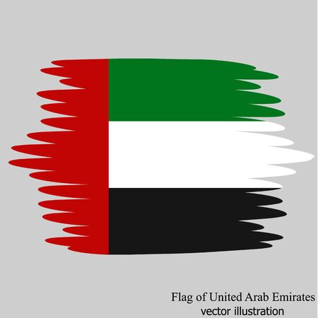 Flag of United Arab Emirates with effect brush. Illustration with flag for design.