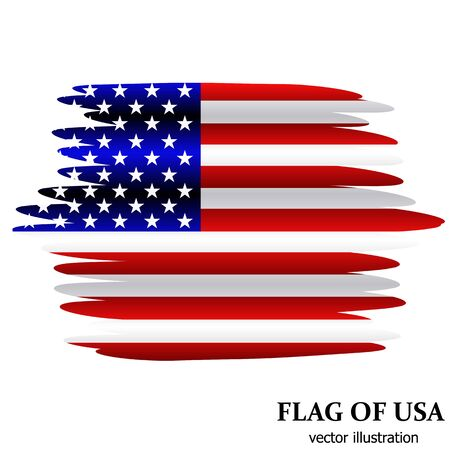 Bright illustration with flag usa. Independence day usa. Vector background with effect brush.