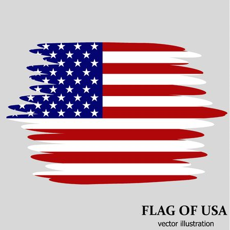 Illustration with flag of USA. Independence day usa. Vector background with effect brush. Vector illustration.