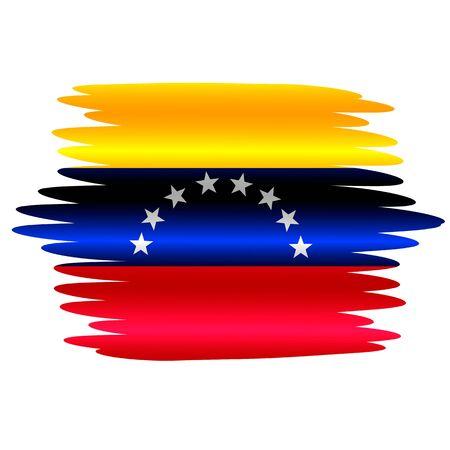 Flag of Venezuela with folds. Colorful illustration with flag for design. Illustration with effect brush.