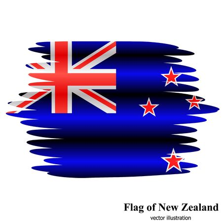 Banner with flag of New Zealand. Colorful illustration with flag for design. Flag of New Zealand with folds.