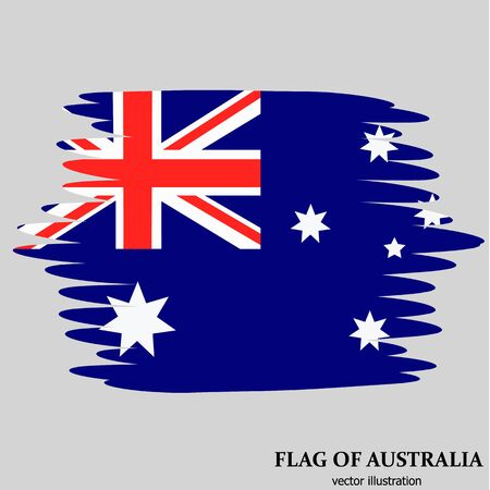 Background with flag of Australia with effect brush. Happy Australia day banner. Illustration.