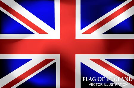 Bright background with flag of England. Happy England day background. Flag of England with folds.