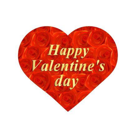 Heart of roses illustration. Heart symbol of love. illustration.