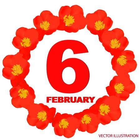 February 6 icon. For planning important day. Banner for holidays and special days. Sixth of february. Çizim