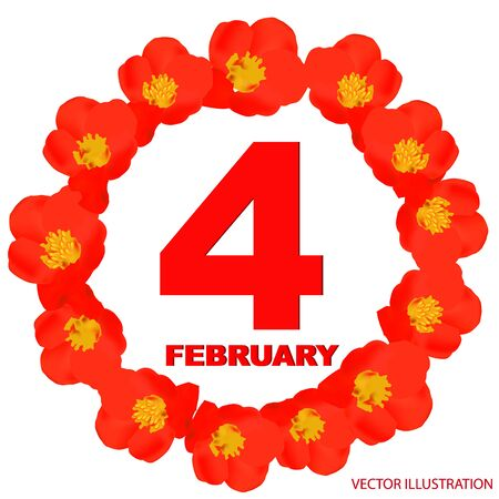 February 4 icon. For planning important day. Banner for holidays and special days.