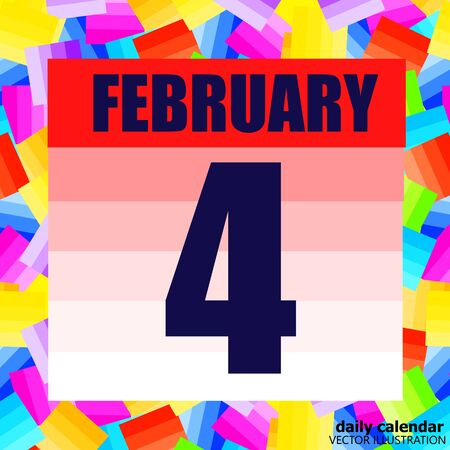 February 4 icon. For planning important day. Banner for holidays and special days. Fourth of february. Çizim
