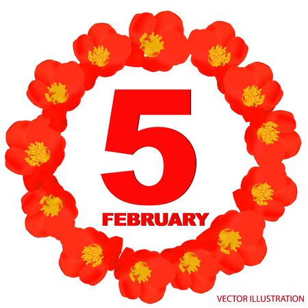 February 5 icon. For planning important day. Banner for holidays and special days.