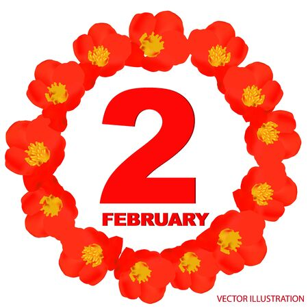 February 2 icon. For planning important day. Banner for holidays and special days. Vector. Stok Fotoğraf