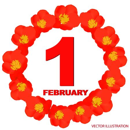 February 1 icon. For planning important day. Banner for holidays and special days.