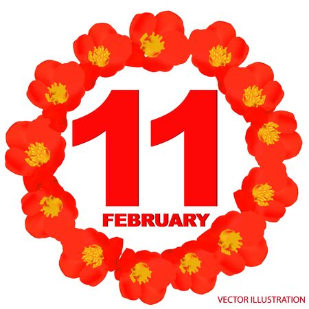 February 11 icon. For planning important day. Banner for holidays and special days with flowers.