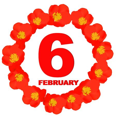 February 6 icon. For planning important day. Banner for holidays and special days. Sixth of february. Stok Fotoğraf