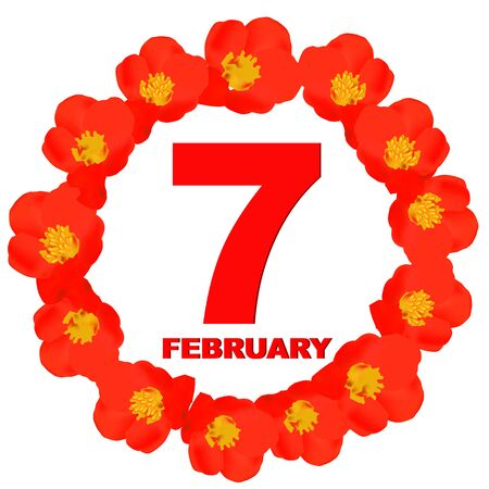 February 7 icon. For planning important day. Banner for holidays and special days.