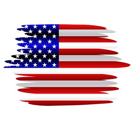 Bright illustration with flag usa. Independence day usa. Background with effect brush.