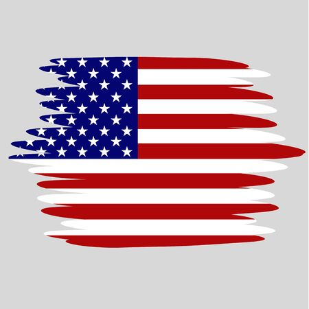 Illustration with flag of USA. Independence day usa. Background with effect brush.