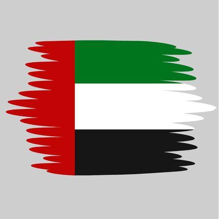 Flag of United Arab Emirates with effect brush. Illustration with flag for design.
