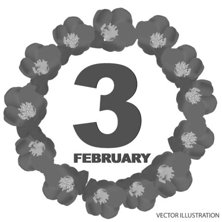 February 3 icon. For planning important day. Banner for holidays and special days.